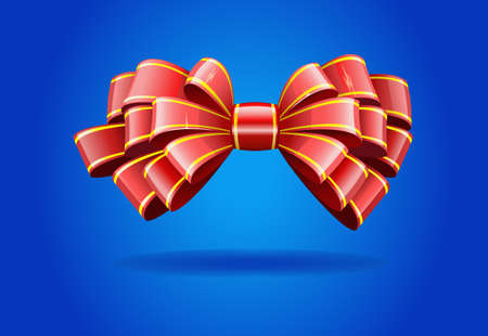 Bow made of shiny red ribbon is shown in the image. Stock Vector - 11451162