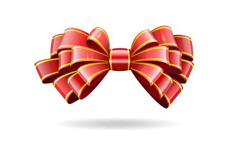 Bow made of shiny red ribbon is shown in the image. Stock Vector - 11451152
