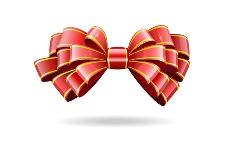 光沢のある赤いリボンの弓が画像で表示されます。