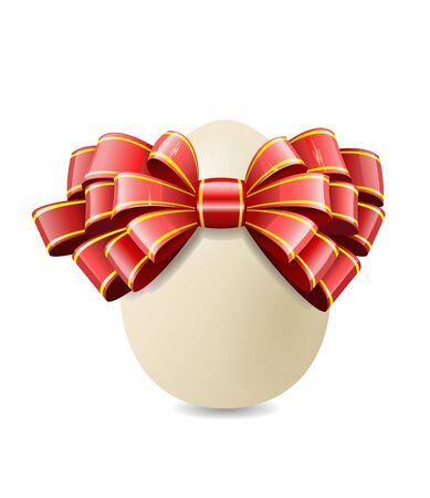 Chicken egg and red bow are shown in the image. Stock Vector - 11451166