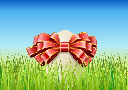 Easter egg and the green grass are shown in the image. Stock Vector - 11451170
