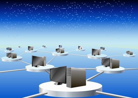 Computer in einem Netzwerk verbunden sind in der Abbildung dargestellt. Standard-Bild - 11451176