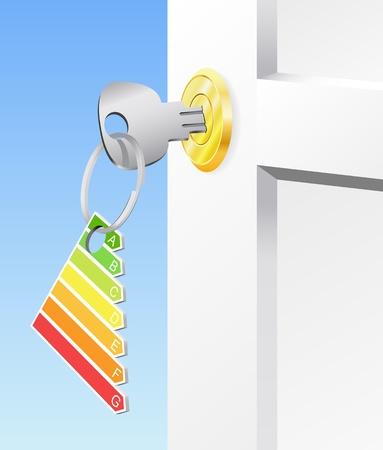 slot met sleuteltje: De sleutel tot de badge aan de deur op slot moderne woning. Stock Illustratie