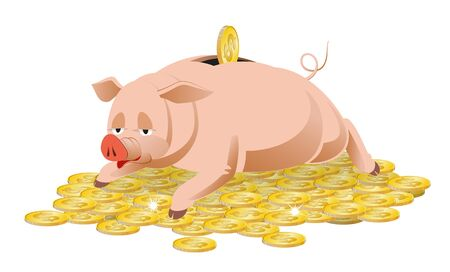 pig tails: Piggy Bank and gold coins are shown in the image.