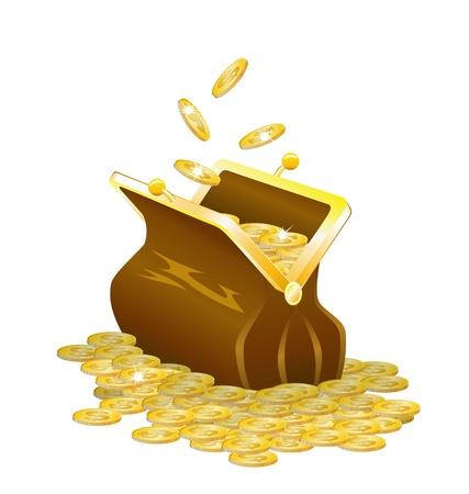 Una cartera vieja usanza y las monedas de oro se muestran en la imagen.