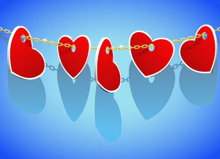 Hearts on a gold chain as a gift for Valentines Day. Vector