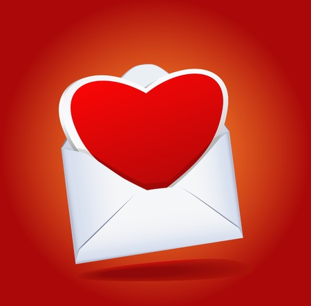Heart and a mailing envelope on the red background are shown in the image.