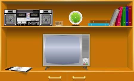 Cabinet and old household items are shown in the image. Vector