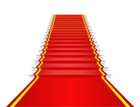 red carpet background: Red carpet on the stairs is shown in the image.