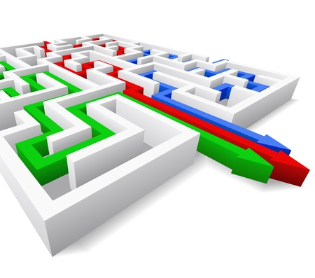 Maze and colored arrows are shown in the image.