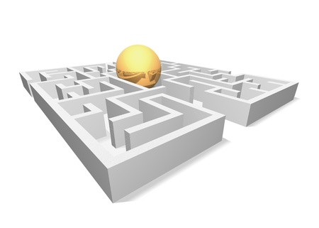 The golden ball in the maze is shown in the image. photo