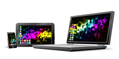 Mobile phone, tablet PC and notebook are shown in the image.