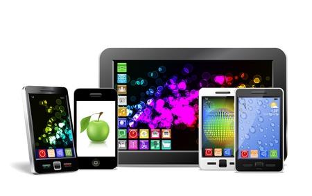 Handy, Tablet-PC und Player sind auf dem Bild gezeigt. Standard-Bild - 12195462