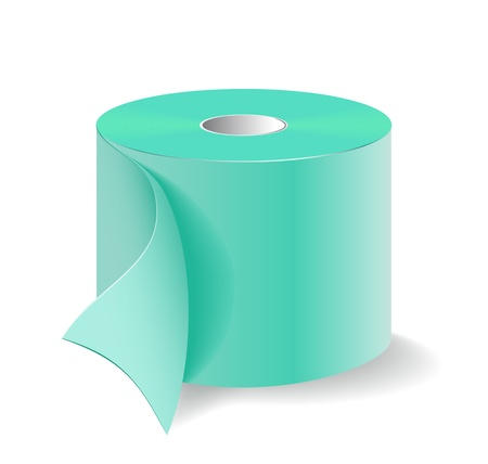 Roll of green toilet paper is shown in the image.