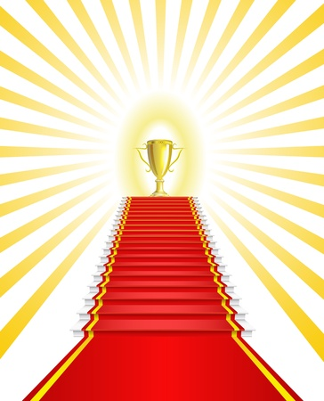 Gold Cup on the red carpet is shown in the picture  Vector