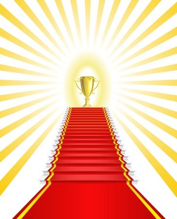 Gold Cup op de rode loper wordt weergegeven in de afbeelding Vector Illustratie
