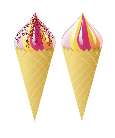 Waffle cones and ice cream are shown in the picture  Vector