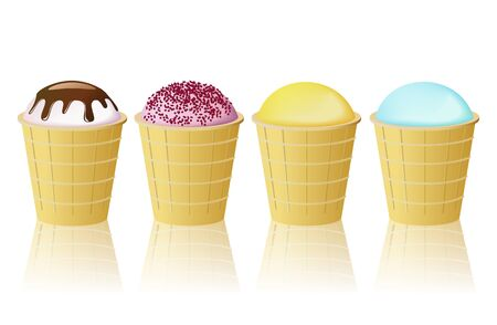 Cup cones ice cream are shown in the picture