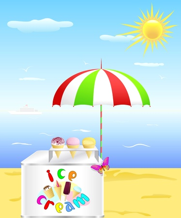Tray with cold ice cream is on the beach in the hot summer  Vector