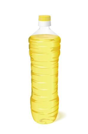 food container: Una botella de aceite vegetal es sobre un fondo blanco