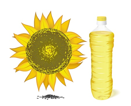 Sunflower, a bottle of sunflower oil and sunflower seeds are on a white background  Illustration