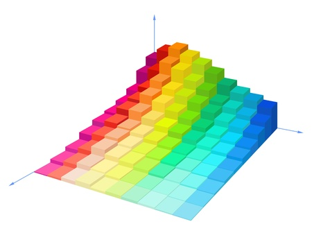 Volumetric multi-colored diagram on a white background is shown in the picture. Vector