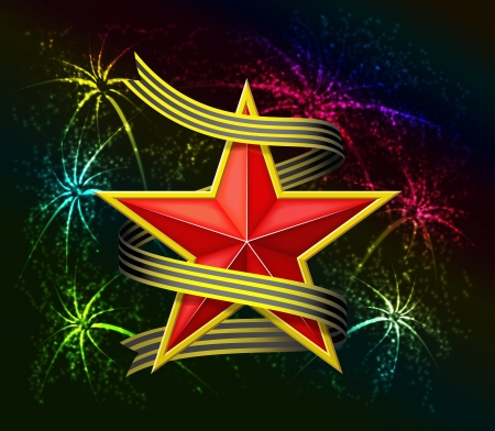 Red star and fireworks are is on black background  Vector