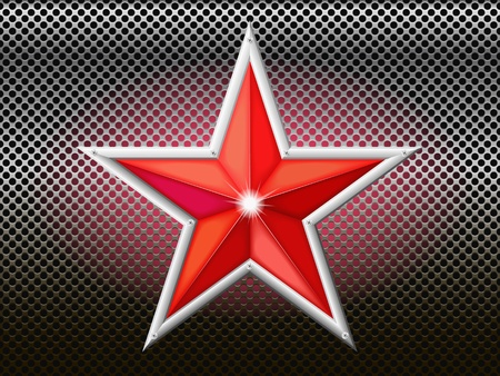 brink: The red star is on a background of metal mesh  Illustration