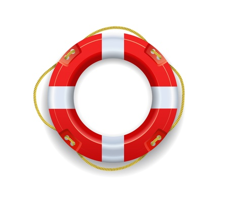 Red lifebuoy is on a white background. Vector