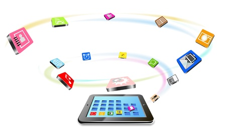 Tablet PC and flying icons are shown in the image