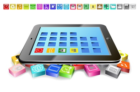 Tablet PC and icons are shown in the image  Illustration