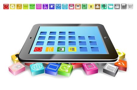 Tablet PC und Symbole sind auf dem Bild gezeigt Standard-Bild - 14087096