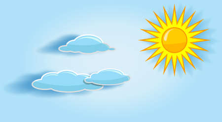 Sun and clouds in the sky are shown on the image  Stock Vector - 14087100