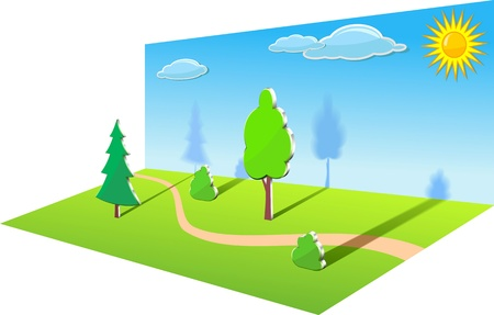Forest decorations are shown in the image. Vectores