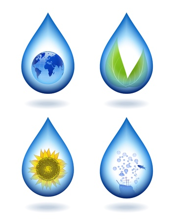 Water droplets with different contents. Stock Vector - 14205041