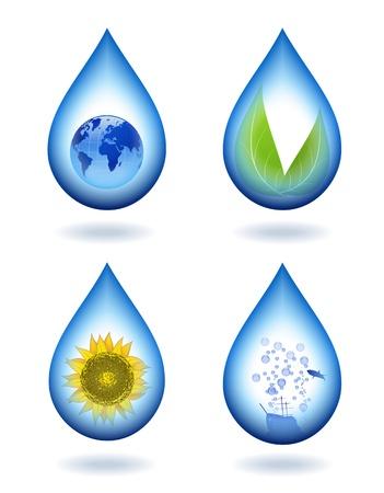 Des gouttelettes d'eau avec des contenus différents.