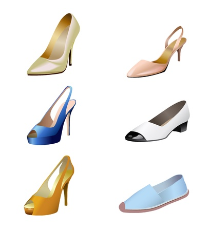 Shoes of different styles are shown in the picture