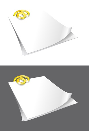 Sheets of paper and gold binder are on white gray backgrounds. Vector