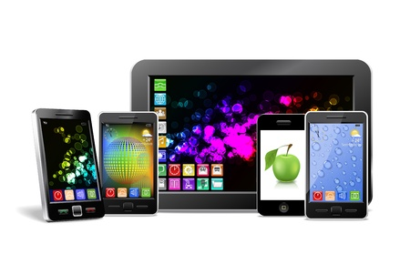 Tablet PC, mobile phones and player are shown in the image