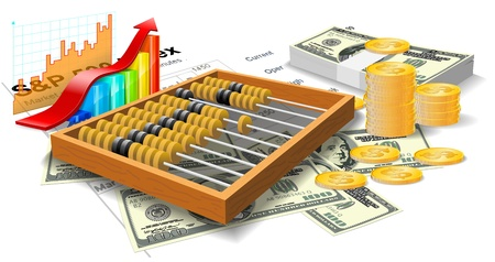 Wooden abacus, bills and coins are on the white background