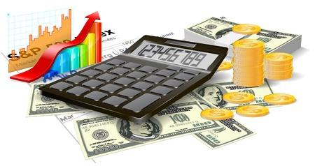 gastos: Calculadora, billetes y monedas en el fondo blanco Vectores
