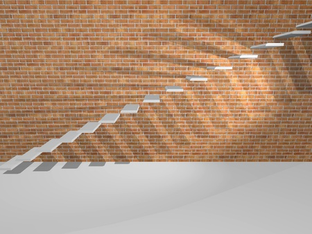 cement solution: Concrete steps on a brick wall are shown in the image.