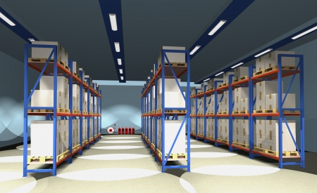 Racks, palettes and boxes are shown in the image. Standard-Bild