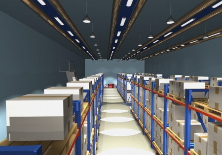 Racks, palettes and boxes are shown in the image. Stock Photo