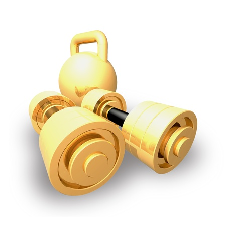 Matched gold dumbbell and weight are shown in the image. photo