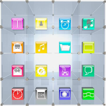 Glass trading showcase and computer icons are shown in the image. Stock Photo - 15997927