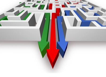 escape plan: Maze and colored arrows are on the white background  Stock Photo