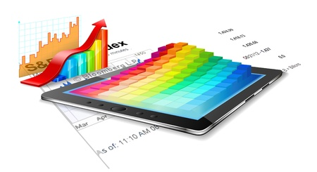 summary: Tablet pc, charts and business summary are on the white background