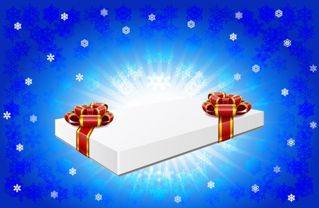 Gift box with red bows are on winter background Stock Vector - 16464584