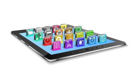 Tablet pc and different icons are shown in the image. Stock Photo - 16484907